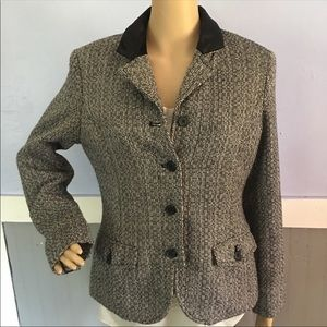 Isaac Mizrahi tweed blazer peacoat jacket size 12